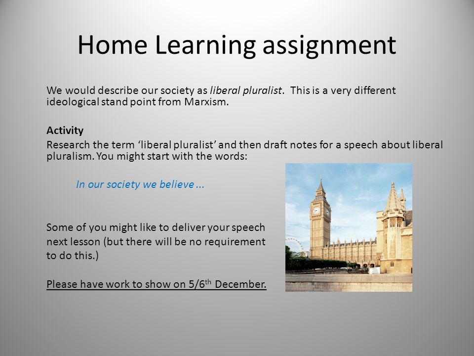 Home Learning assignment