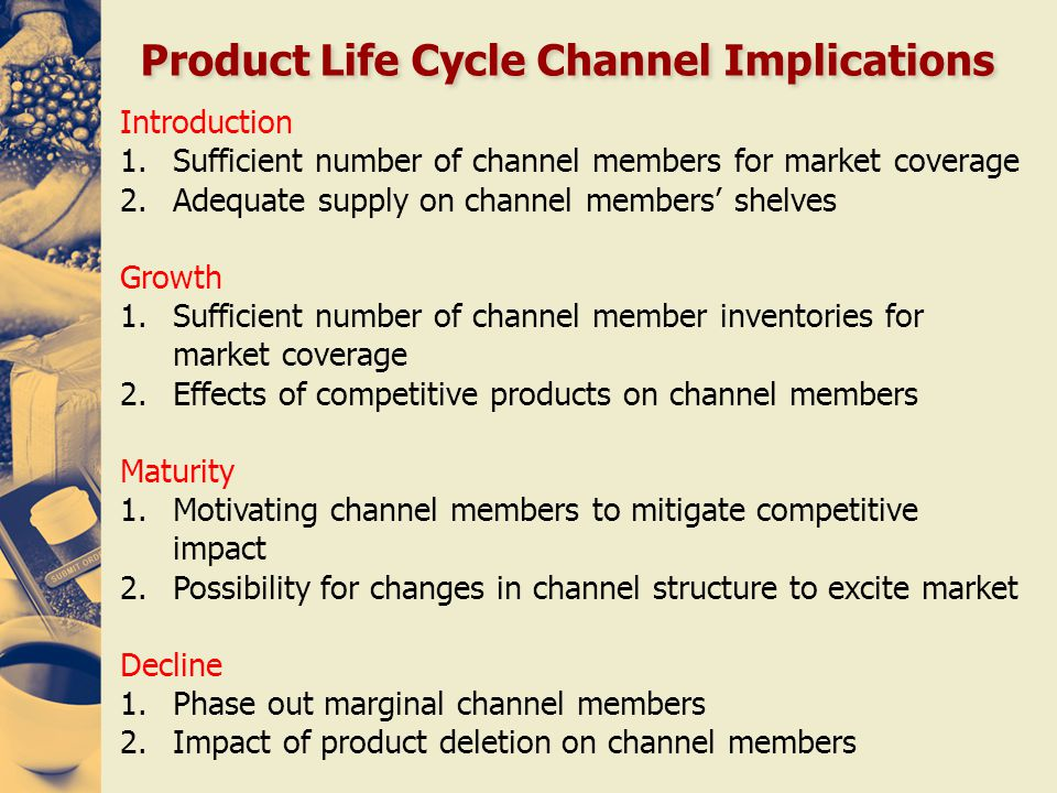 Product Life Cycle Channel Implications