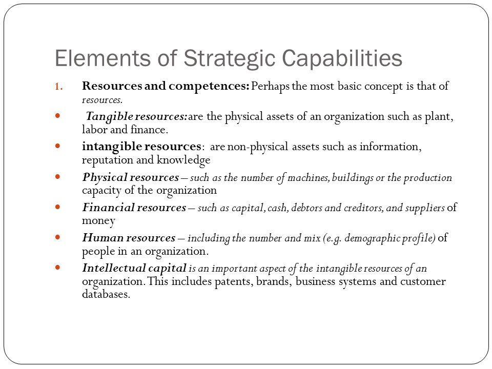 Elements of Strategic Capabilities
