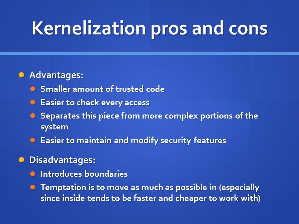 Kernelization pros and cons
