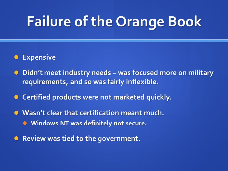 Failure of the Orange Book