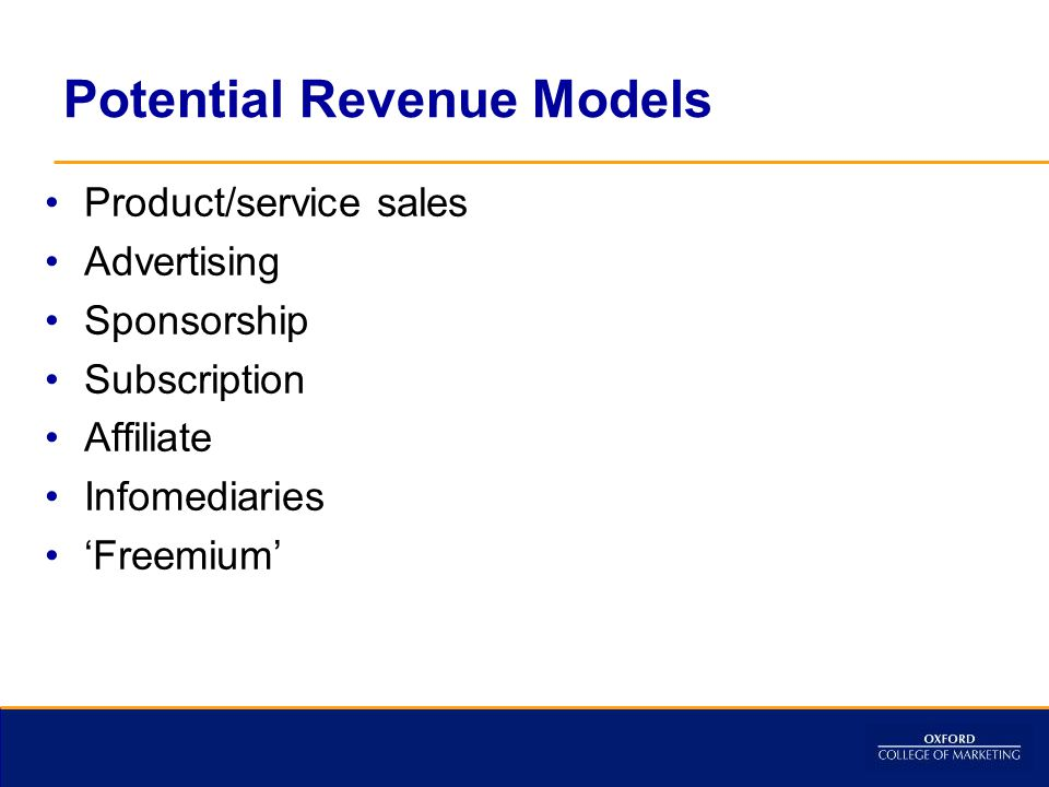 Potential Revenue Models