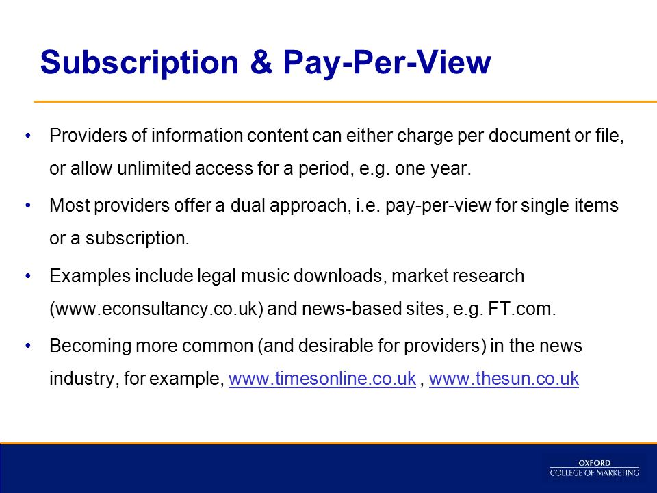 Subscription & Pay-Per-View