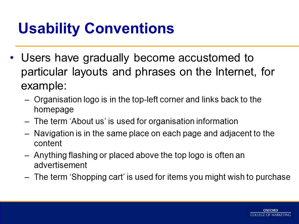Usability Conventions
