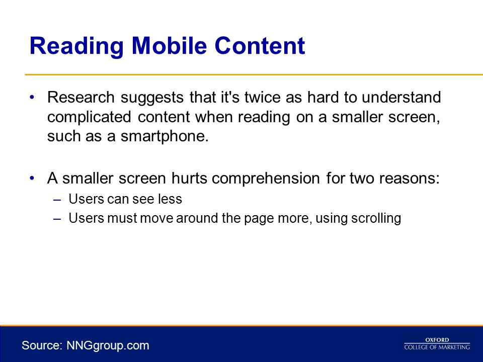 Reading Mobile Content