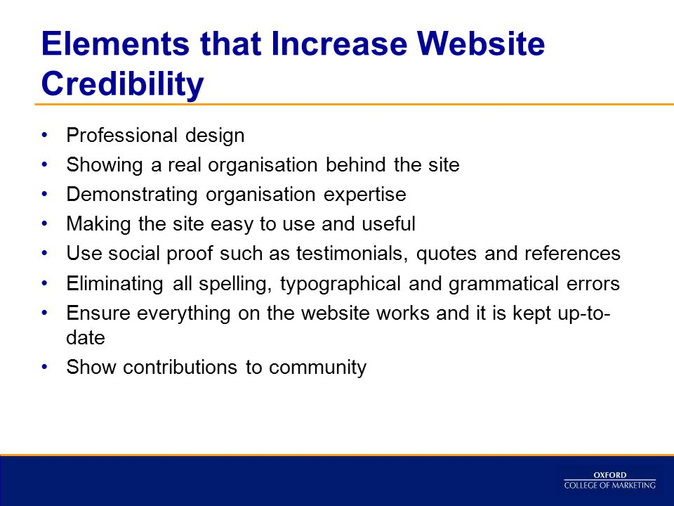 Elements that Increase Website Credibility