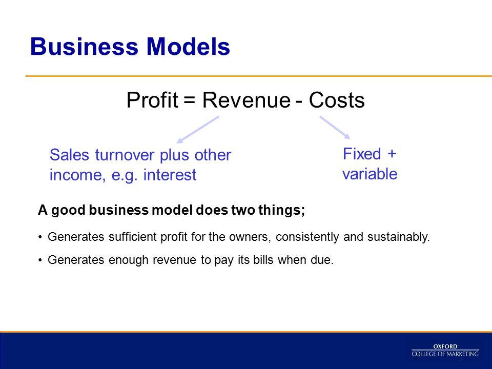 Profit = Revenue - Costs