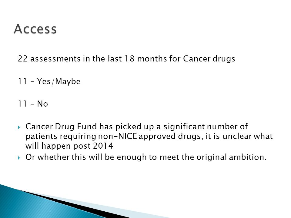 Access 22 assessments in the last 18 months for Cancer drugs