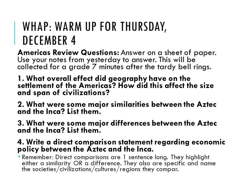 WHAP: Warm Up for Thursday, December 4