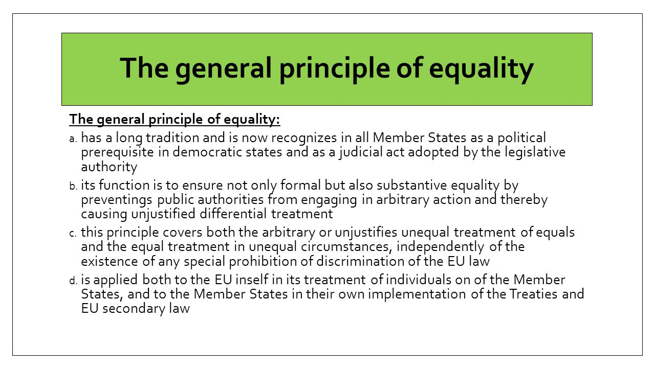 The general principle of equality