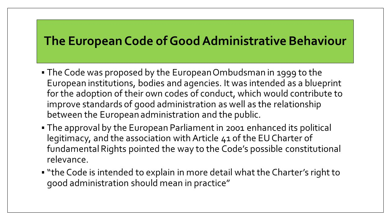 The European Code of Good Administrative Behaviour
