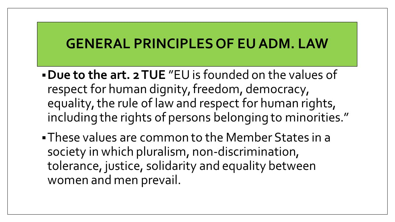 Due to the art. 2 TUE EU is founded on the values of respect for human dignity, freedom, democracy, equality, the rule of law and respect for human rights, including the rights of persons belonging to minorities.