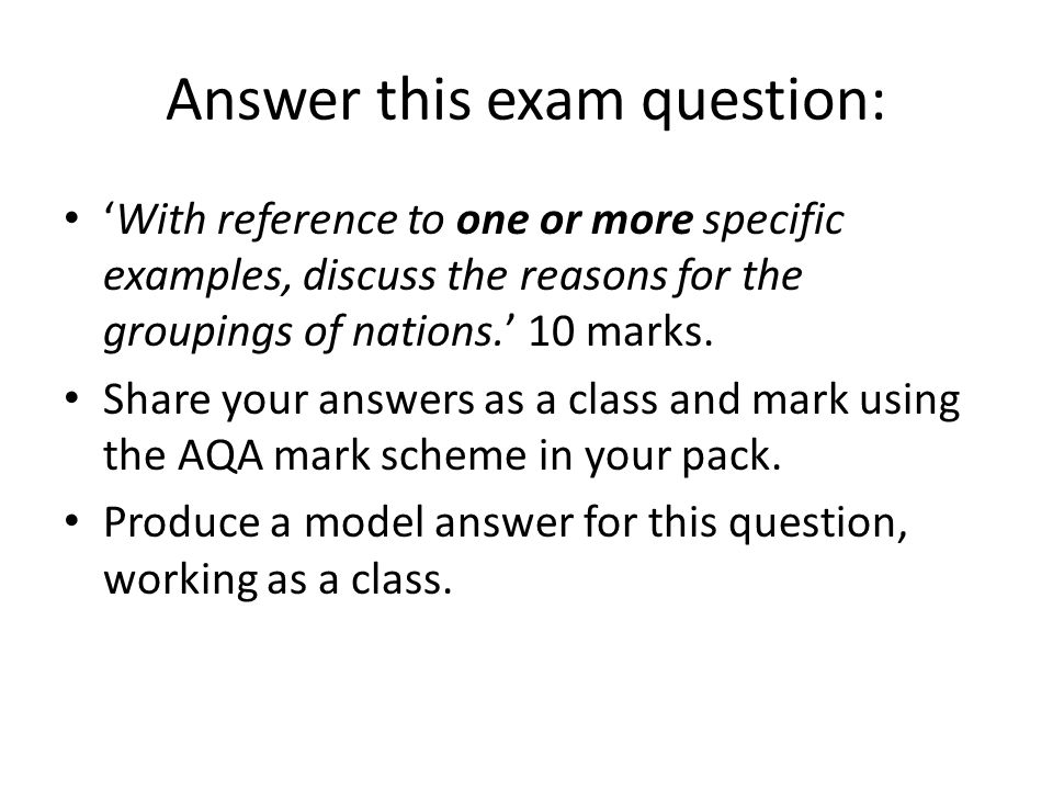 Answer this exam question: