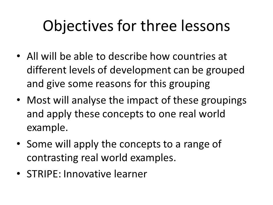 Objectives for three lessons