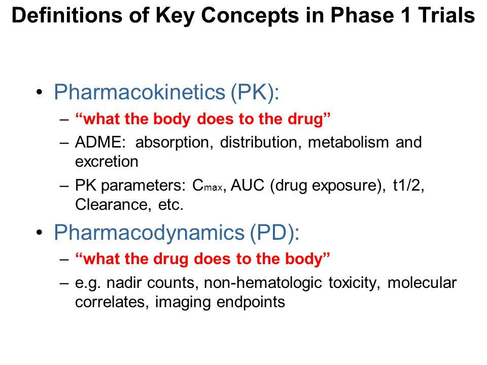 Definitions of Key Concepts in Phase 1 Trials