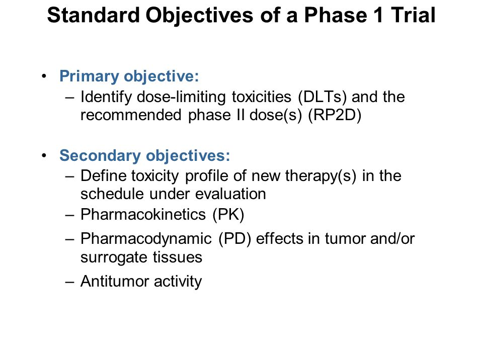 Standard Objectives of a Phase 1 Trial