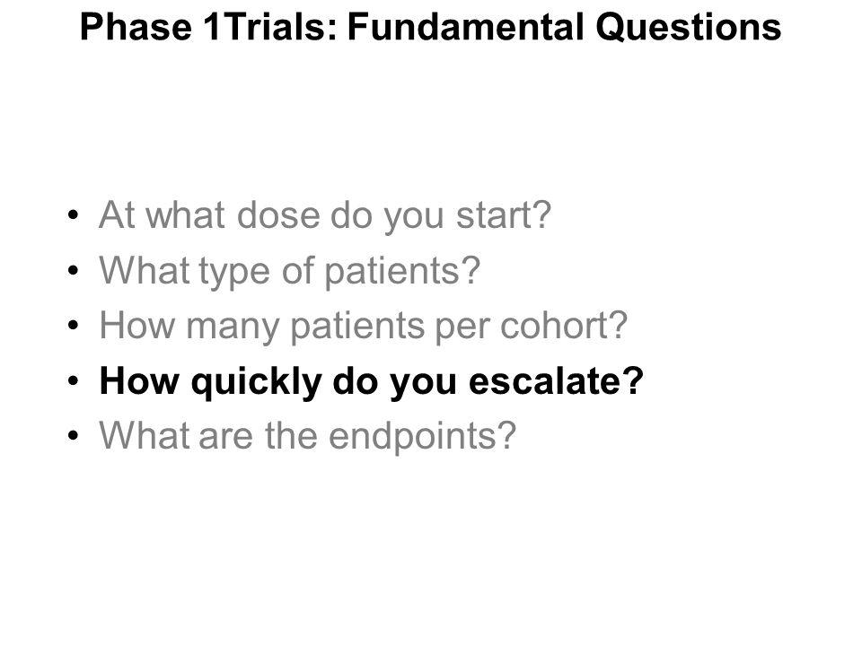 Phase 1Trials: Fundamental Questions