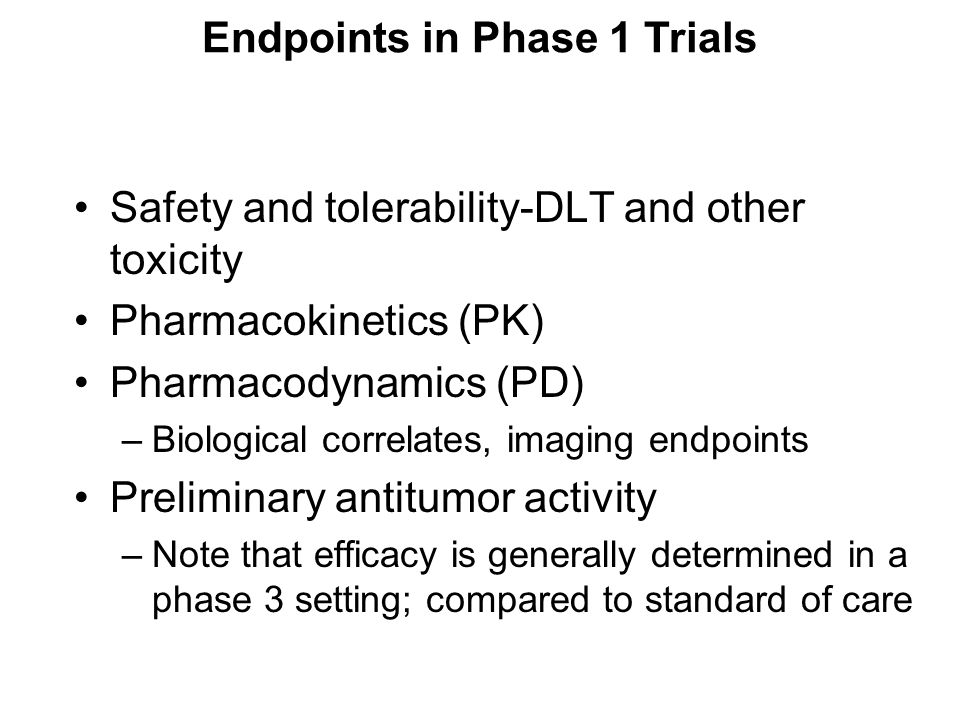 Endpoints in Phase 1 Trials