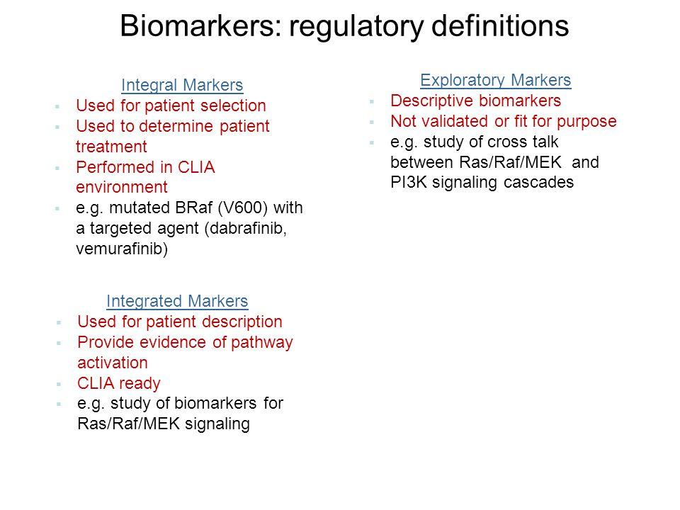 Biomarkers: regulatory definitions