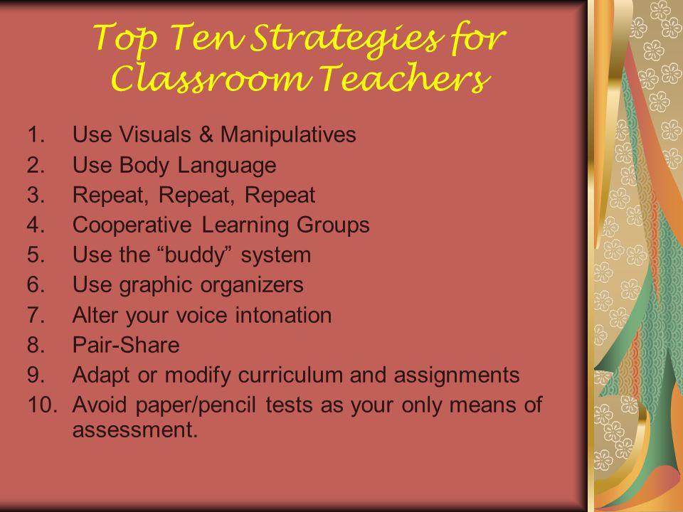 Top Ten Strategies for Classroom Teachers
