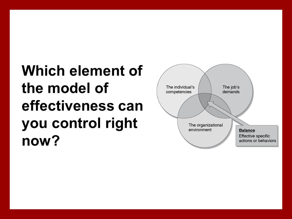 Which element of the model of effectiveness can you control right now