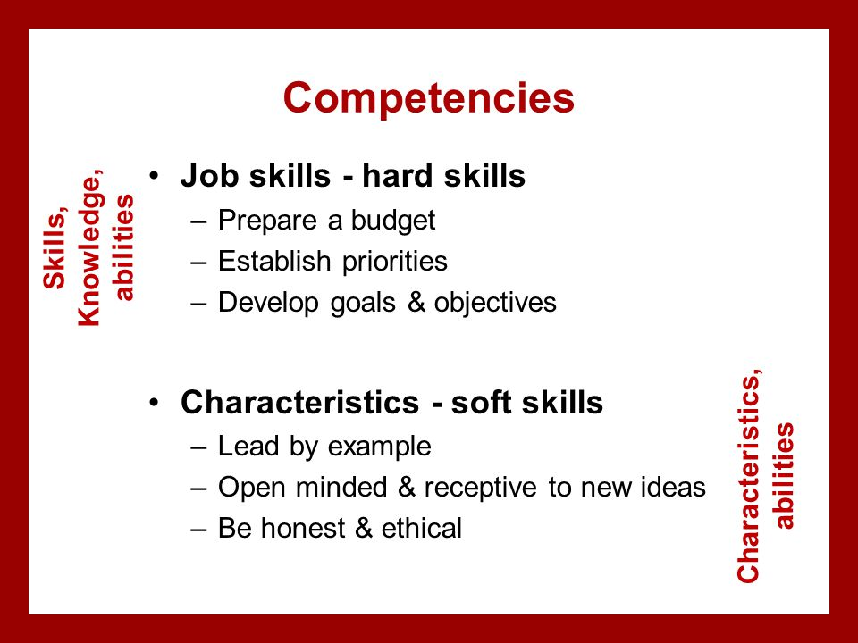Skills, Knowledge, abilities Characteristics, abilities