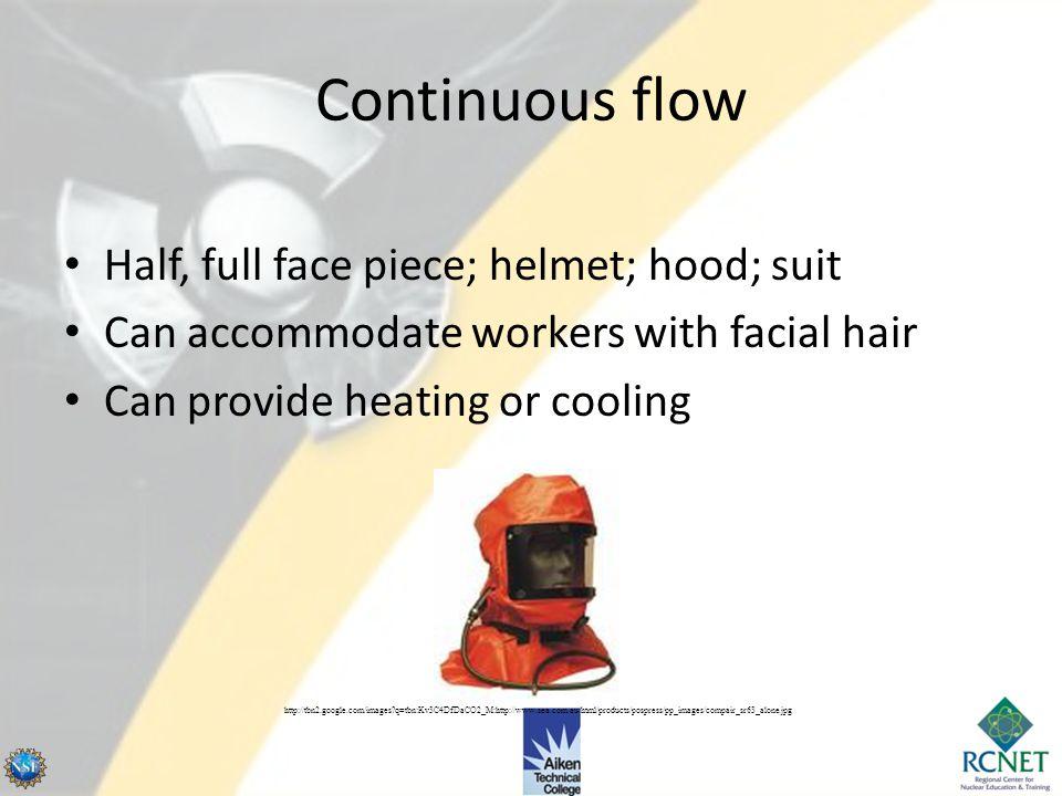 Continuous flow Half, full face piece; helmet; hood; suit