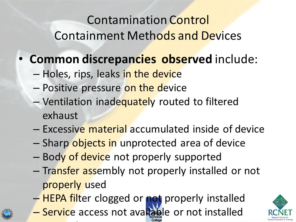 Contamination Control Containment Methods and Devices