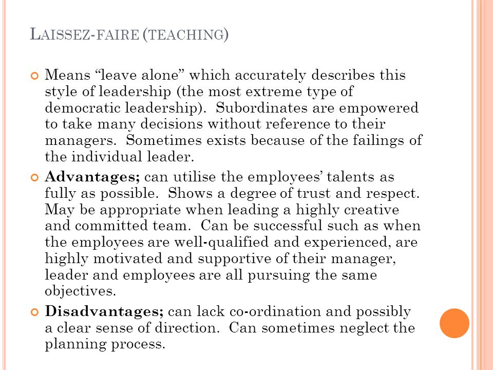 Laissez-faire (teaching)
