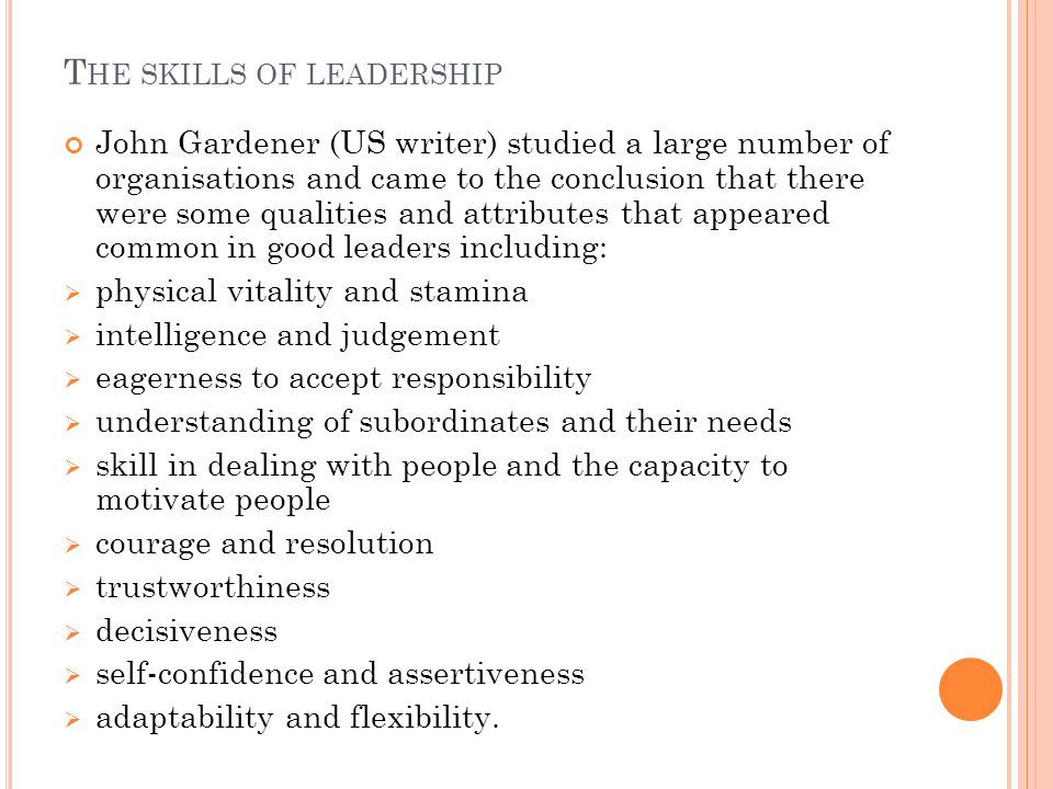 The skills of leadership