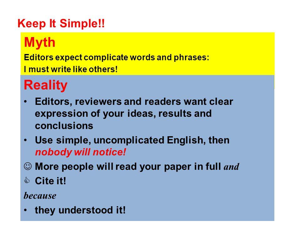 Myth Reality Keep It Simple!!