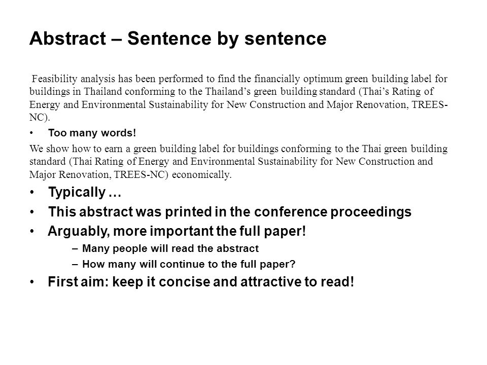 Abstract – Sentence by sentence