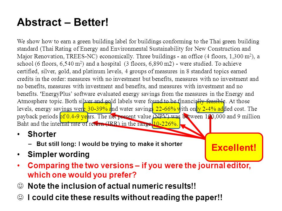 Abstract – Better! Excellent! Shorter Simpler wording