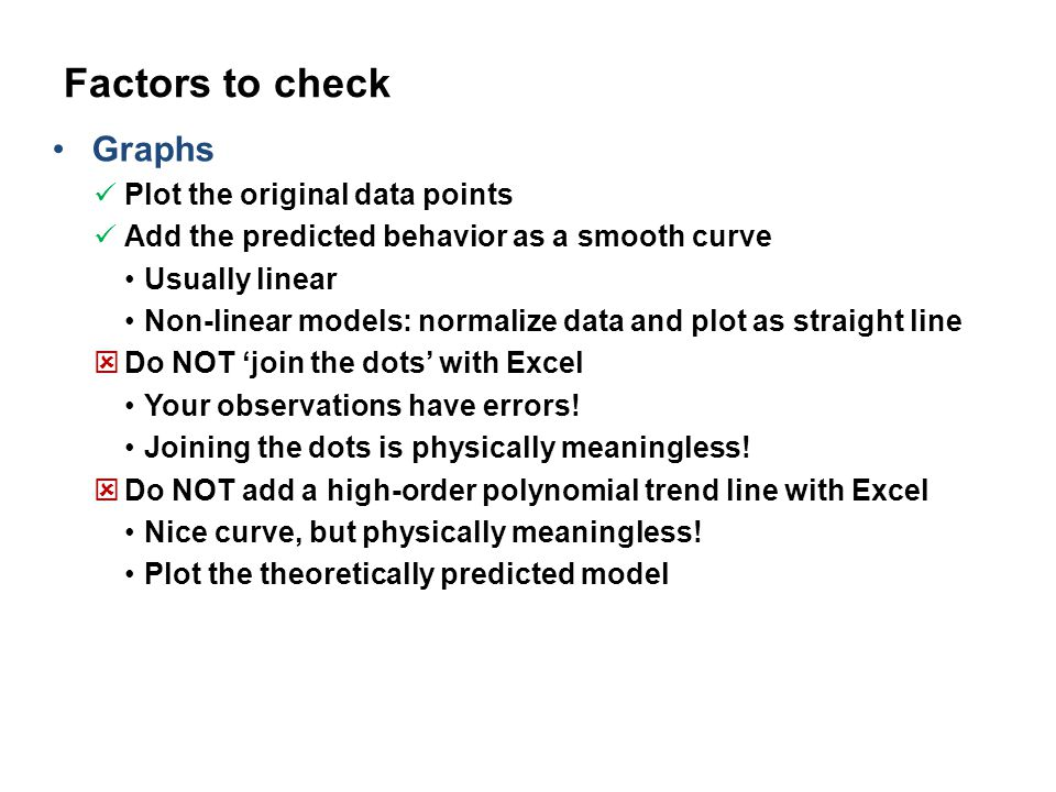 Factors to check Graphs Plot the original data points