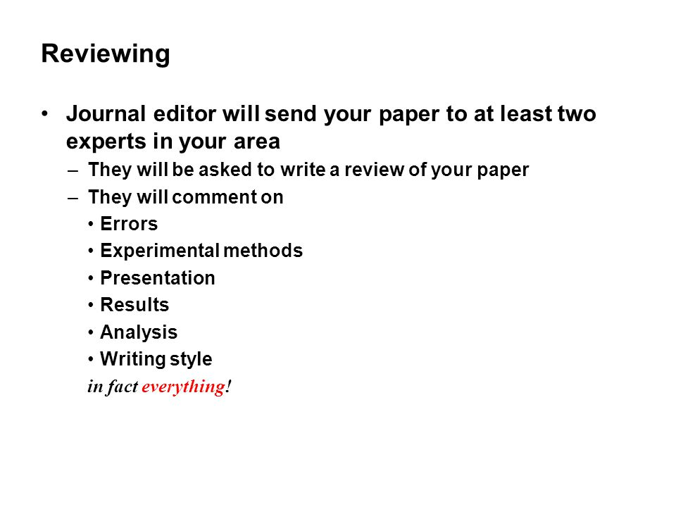 Reviewing Journal editor will send your paper to at least two experts in your area. They will be asked to write a review of your paper.