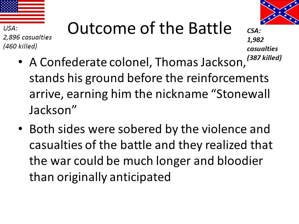 Outcome of the Battle USA: 2,896 casualties. (460 killed) CSA: 1,982 casualties. (387 killed)