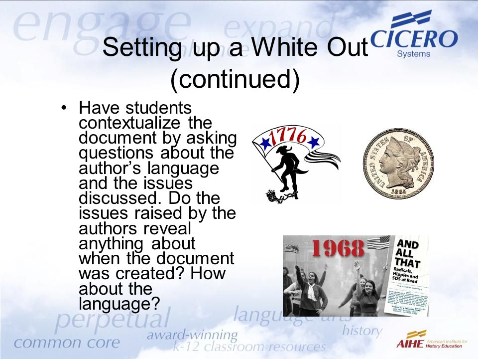 Setting up a White Out (continued)