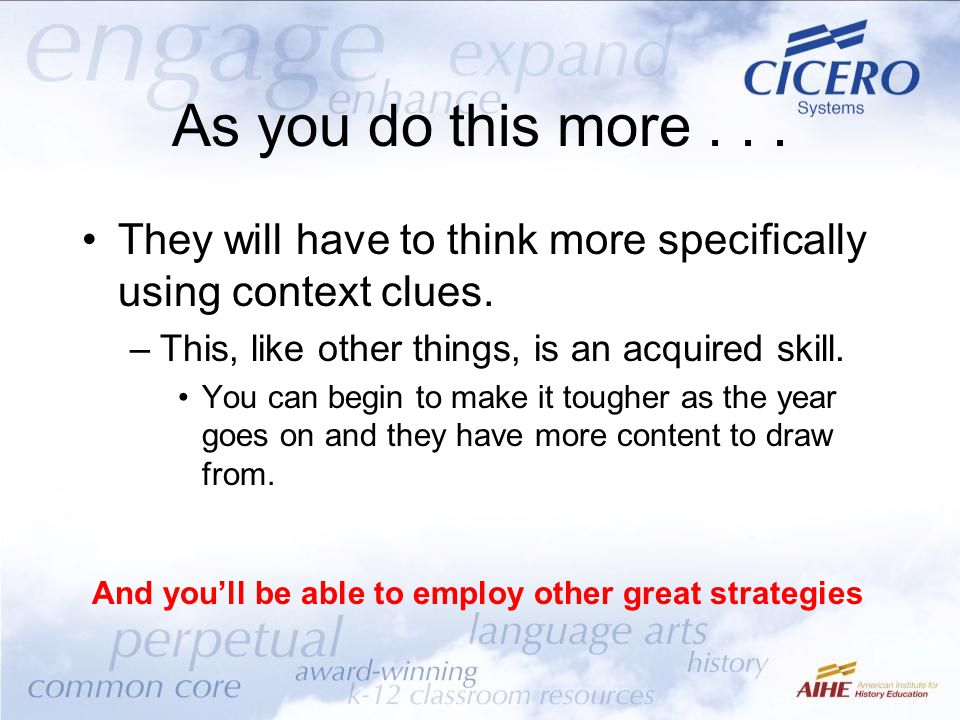 And you'll be able to employ other great strategies