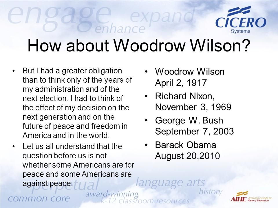 How about Woodrow Wilson