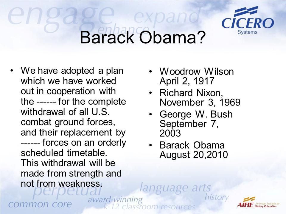 Barack Obama Woodrow Wilson April 2, 1917