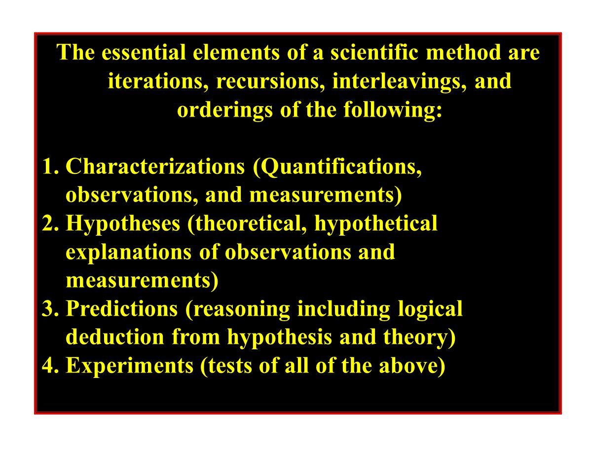 The essential elements of a scientific method are iterations, recursions, interleavings, and orderings of the following: