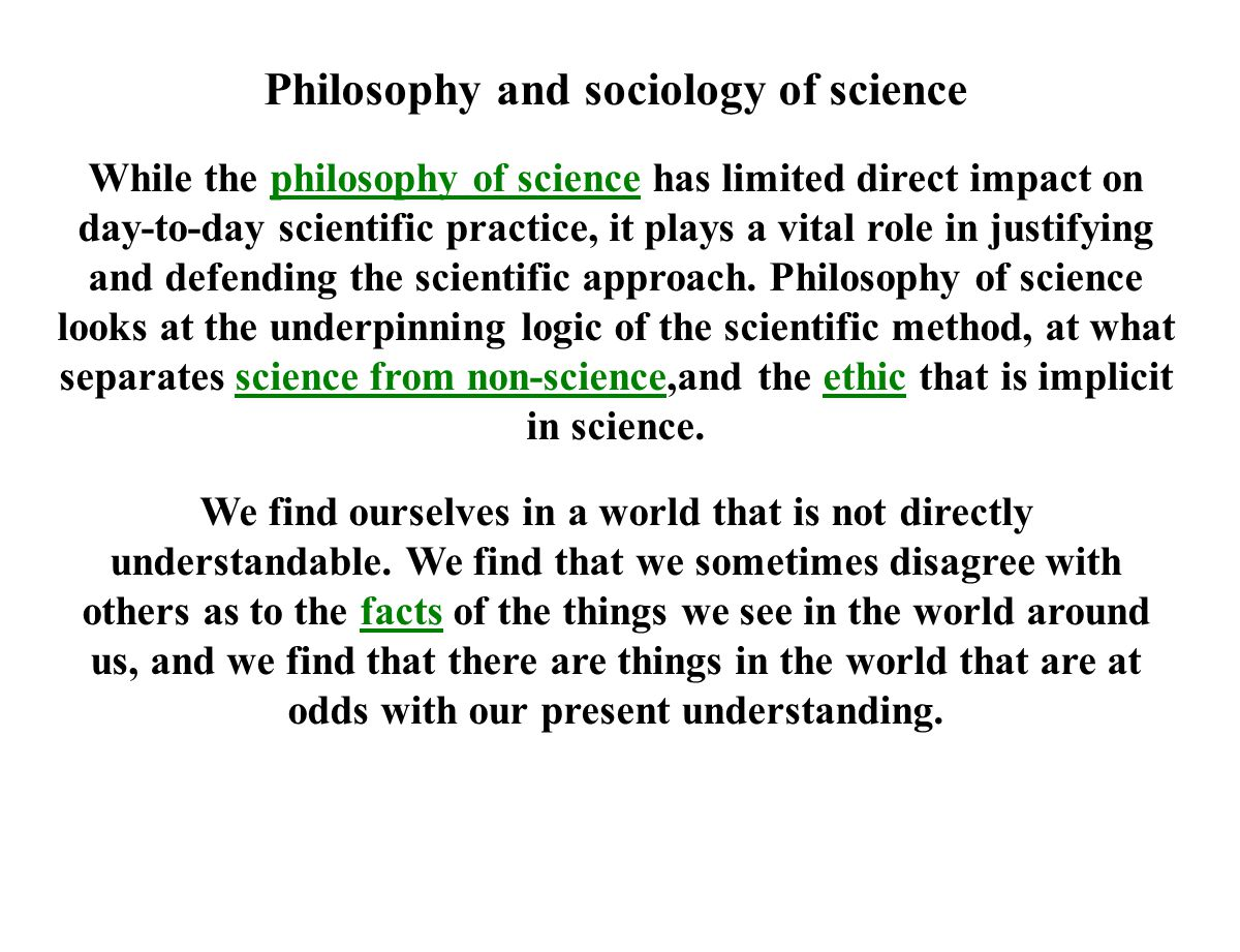 Philosophy and sociology of science