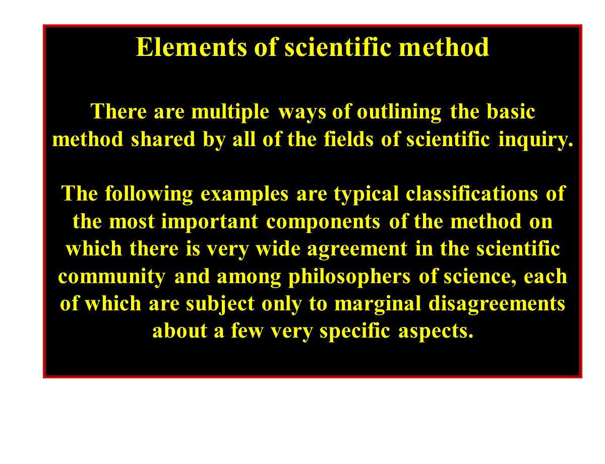 Elements of scientific method