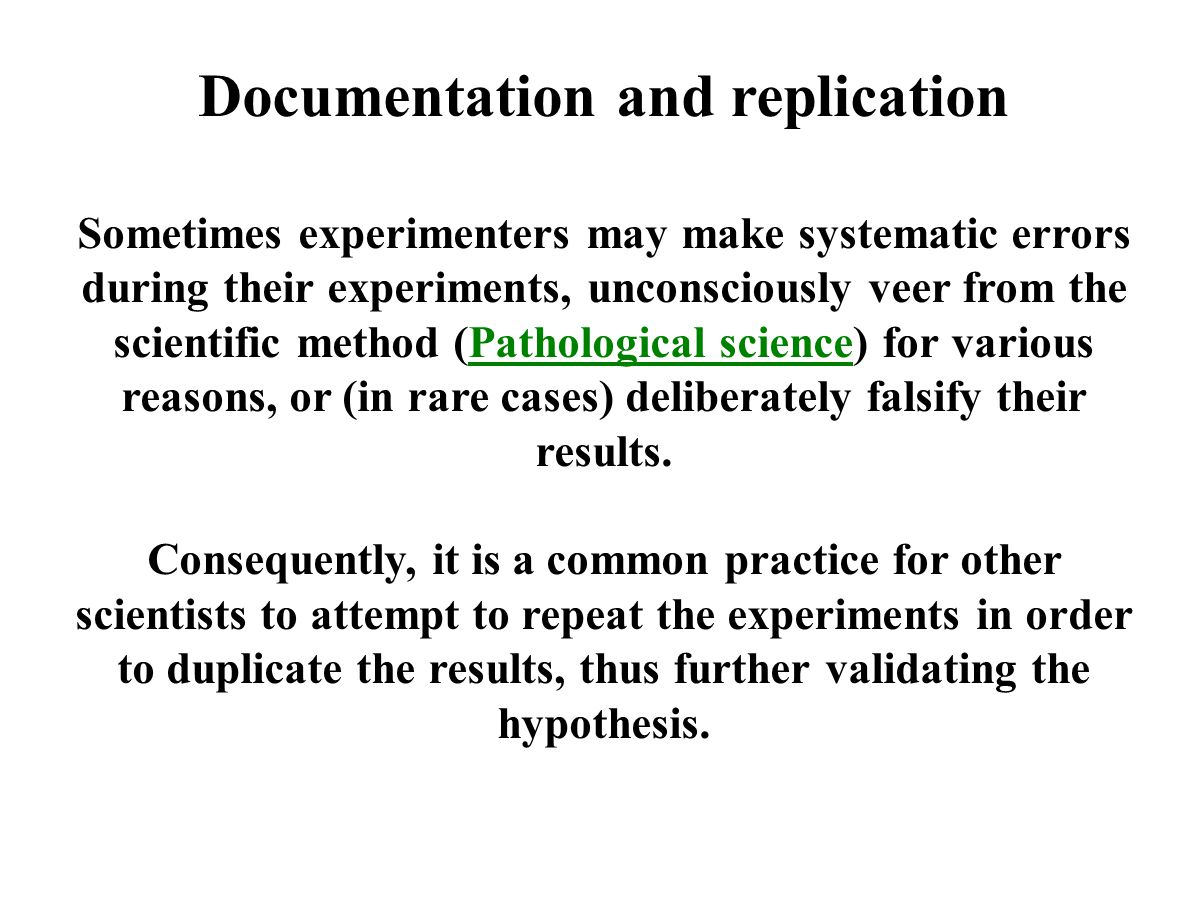 Documentation and replication