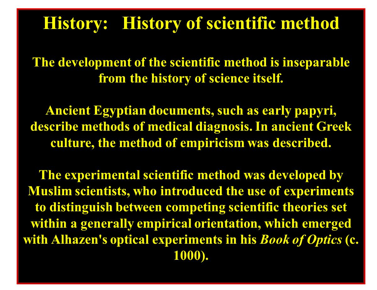 History: History of scientific method