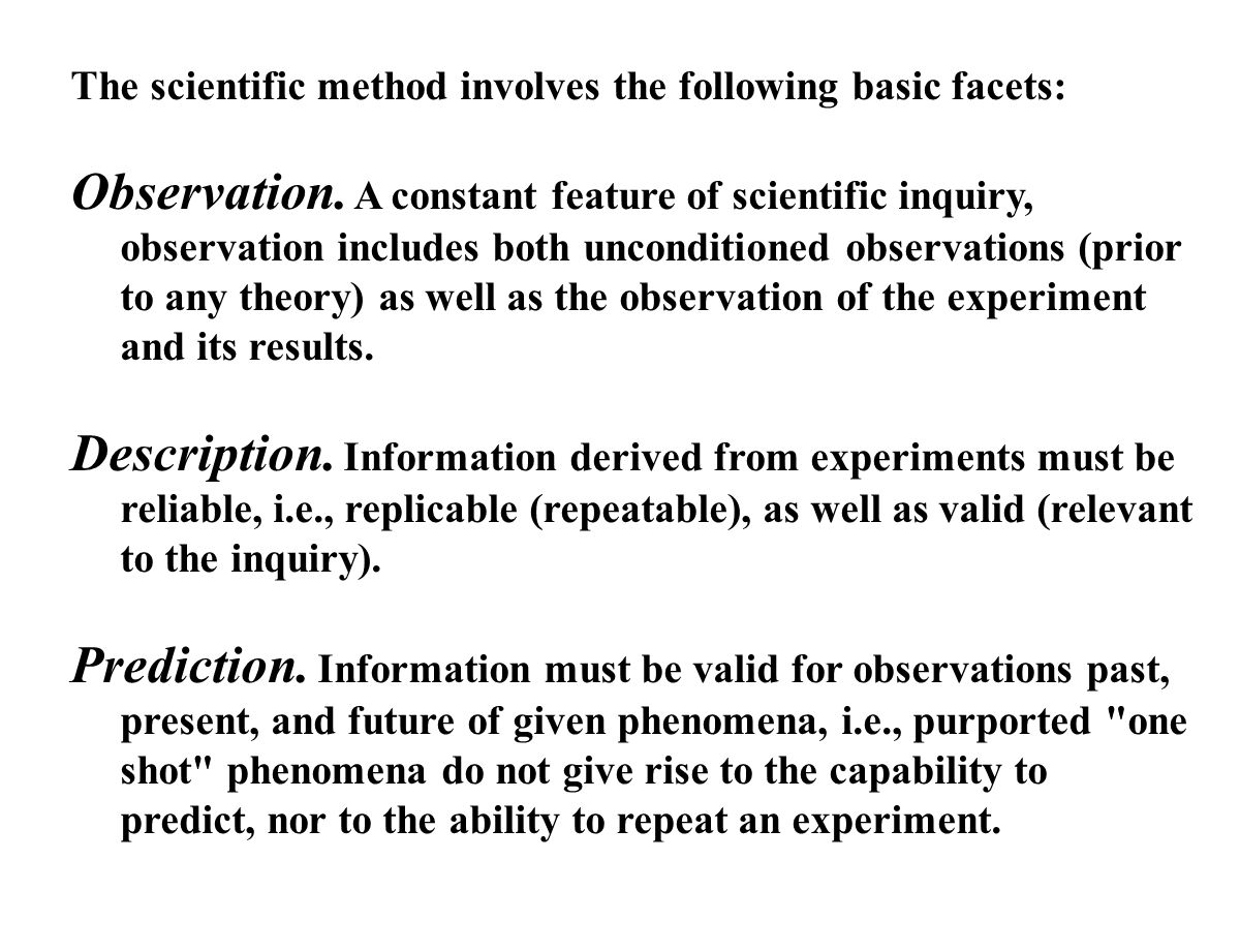 The scientific method involves the following basic facets: