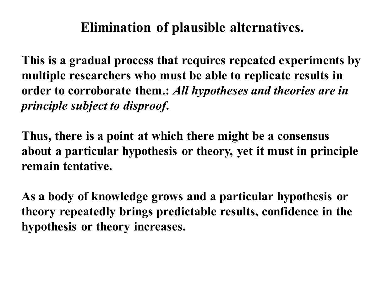 Elimination of plausible alternatives.