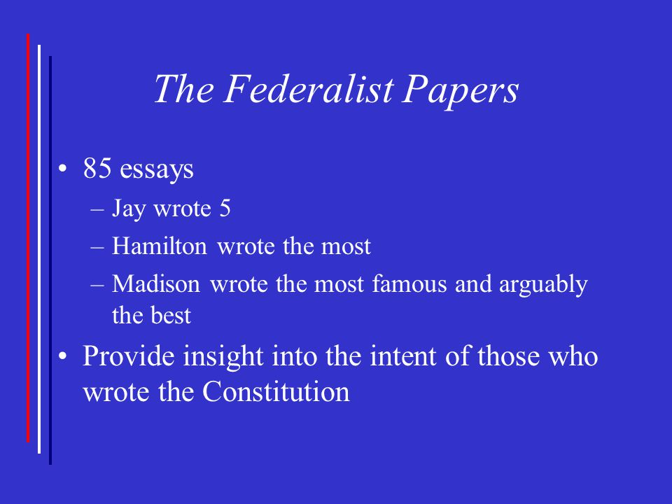 the federalist essays The federalist, commonly referred to as the federalist papers, is a series of 85 essays written by alexander hamilton, john jay, and james madison between october 1787 and may 1788.