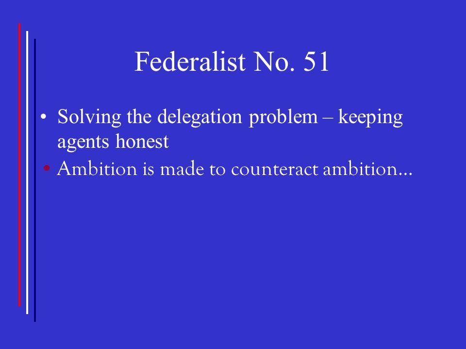 Federalist No. 51 Solving the delegation problem – keeping agents honest.