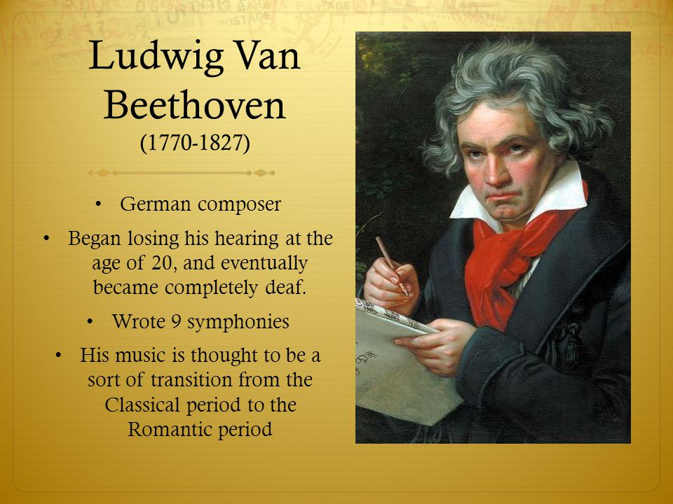 a biography of beethoven a composer On december 17, 1770, ludwig van beethoven was born maria later gave birth to five other children, but only two survived, caspar anton carl and nikolaus johann beethoven's childhood: at a very early age, beethoven received violin and.
